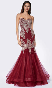 Cinderella Divine - 9179 Embellished Mermaid Gown In Red