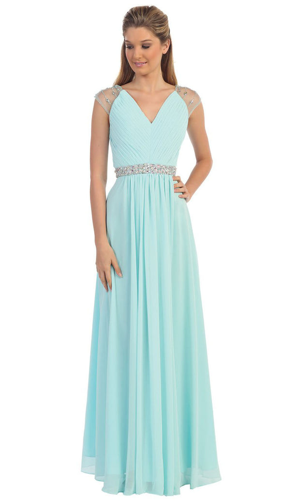 Dancing Queen - 9182 Illusion Sleeve Pleated Chiffon A-Line Gown In Blue