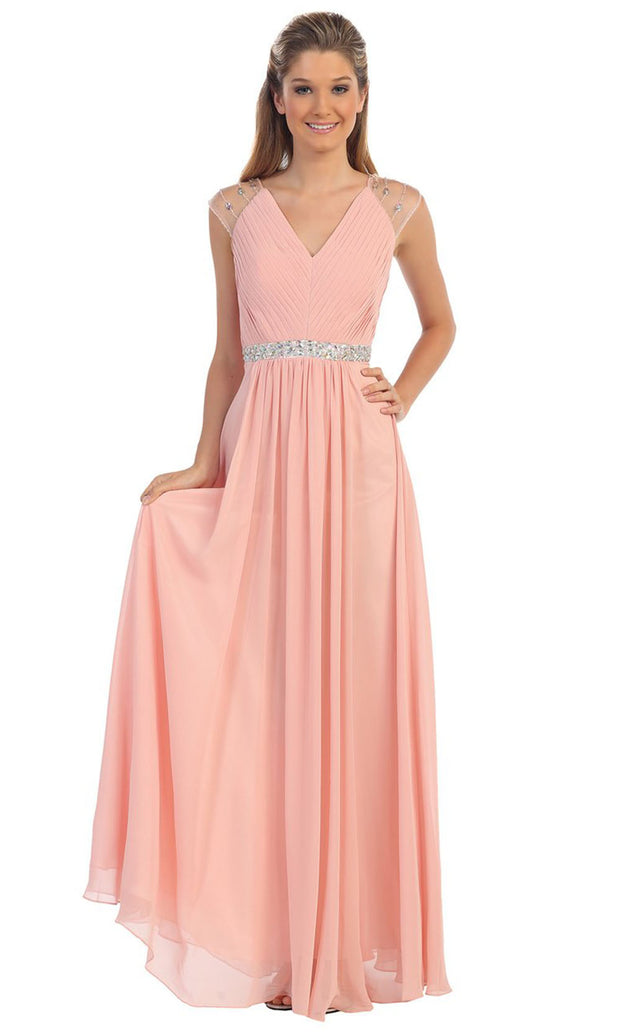 Dancing Queen - 9182 Illusion Sleeve Pleated Chiffon A-Line Gown In Pink