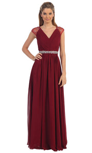Dancing Queen - 9182 Illusion Sleeve Pleated Chiffon A-Line Gown In Burgundy