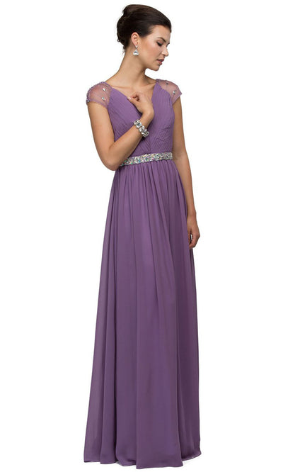 Dancing Queen - 9182 Illusion Sleeve Pleated Chiffon A-Line Gown In Purple