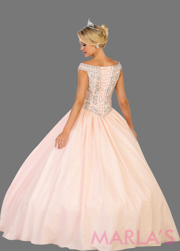 Back of Long off shoulder pink blush ball gown with beaded bodice and full tulle skirt. This is perfect for your quinceanera, Sweet15, Sweet16,Reception Wedding Dress, Engagement Dress,Prom Ballgown