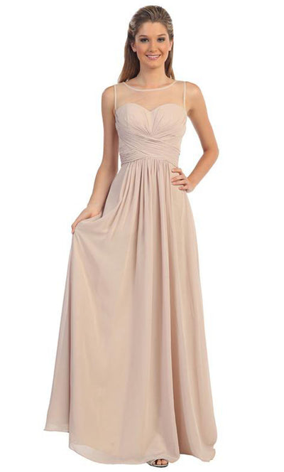 Dancing Queen - 9202 Illusion Neckline Ruched Bodice A-Line Gown In Champagne & Gold