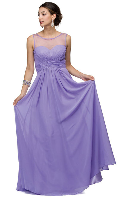 Dancing Queen - 9202 Illusion Neckline Ruched Bodice A-Line Gown In Purple