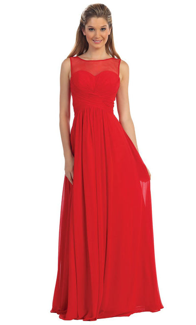 Dancing Queen - 9202 Illusion Neckline Ruched Bodice A-Line Gown In Red