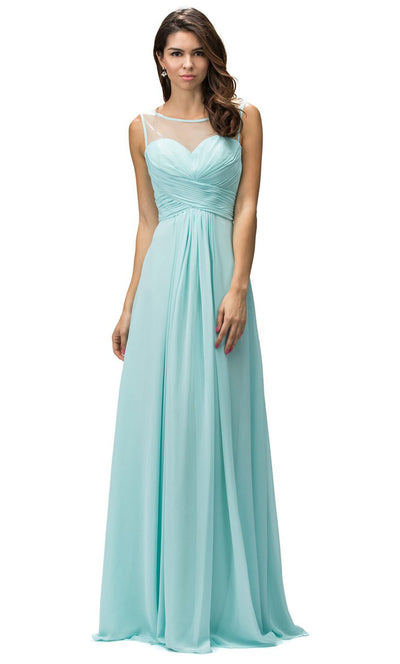 Dancing Queen - 9202 Illusion Neckline Ruched Bodice A-Line Gown In Blue