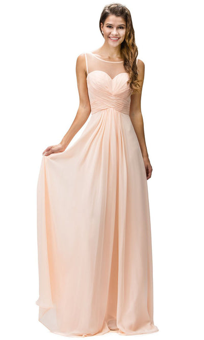 Dancing Queen - 9202 Illusion Neckline Ruched Bodice A-Line Gown In Coral & Orange