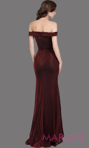 Back of Long off shoulder dark wine sleek & sexy glittery evening mermaid dress. This floor length gown is perfect as a dark red prom dress, formal wedding guest dress, wedding reception or engagement dress, gala party dress. Plus sizes avail
