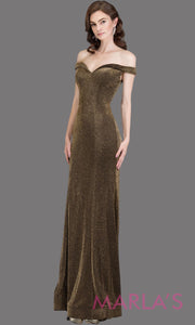 Long off shoulder dark gold sleek & sexy glittery evening mermaid dress. This floor length gown is perfect as a gold prom dress, formal wedding guest dress, wedding reception or engagement dress, gala party dress. Plus sizes avail