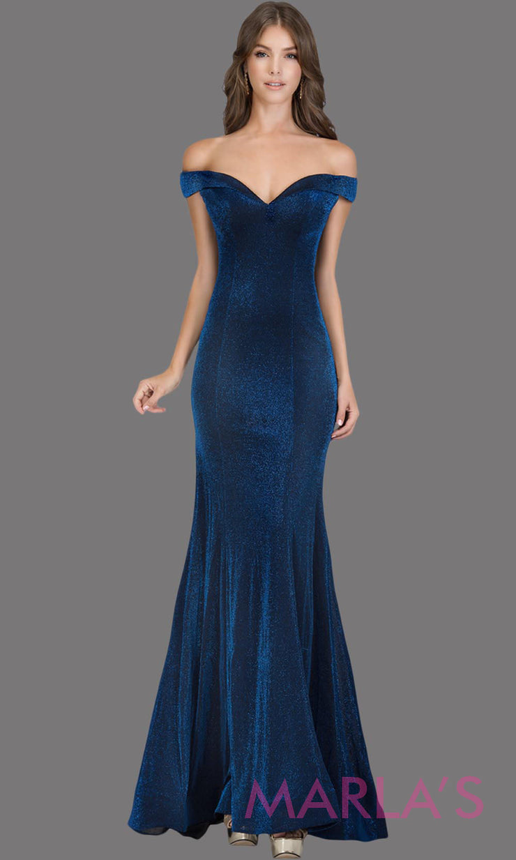 Long off shoulder dark royal blue sleek & sexy glittery evening mermaid dress. This floor length gown is perfect as a blue prom dress, formal wedding guest dress, wedding reception or engagement dress, gala party dress. Plus sizes avail