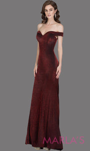 Long off shoulder dark wine sleek & sexy glittery evening mermaid dress. This floor length gown is perfect as a dark red prom dress, formal wedding guest dress, wedding reception or engagement dress, gala party dress. Plus sizes avail