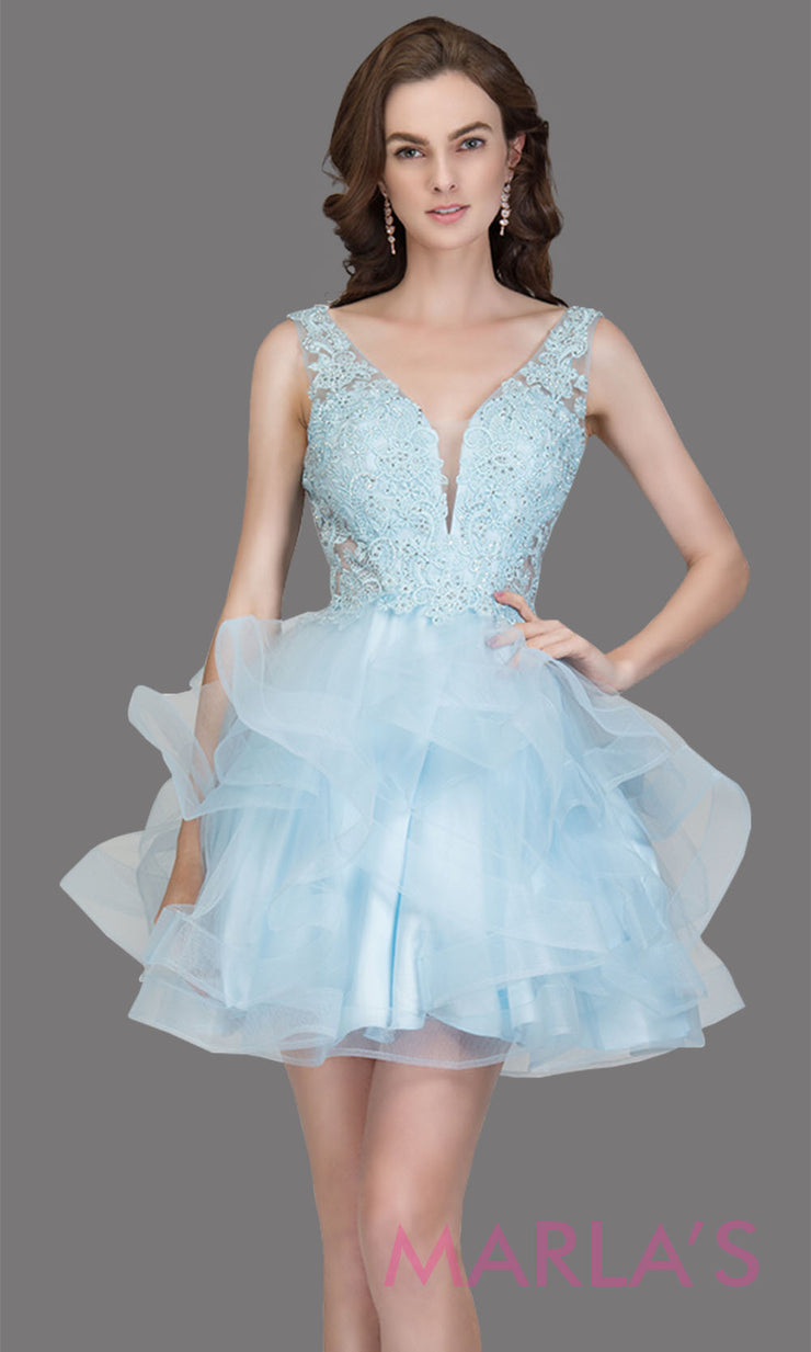 Short wide strap tulle baby blue grade 8 grad dress with lace & V Neck. This puffy tiered light blue graduation dress is great as quinceanera damas, sweet 16 birthday, bat mitzvah, confirmation, junior bridesmaid, 8th grade. Plus sizes avail