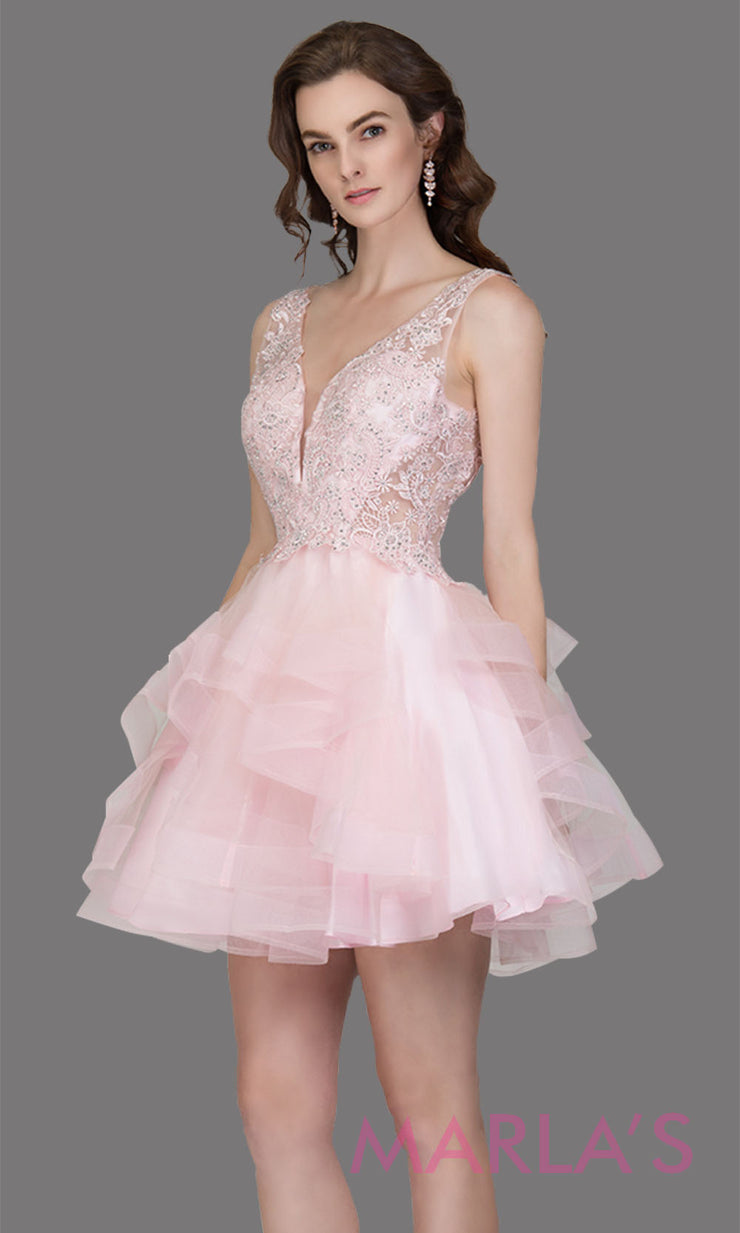 Short wide strap tulle blush pink grade 8 grad dress with lace & V Neck. This puffy tiered light pink graduation dress is great as quinceanera damas, sweet 16 birthday, bat mitzvah, confirmation, junior bridesmaid, 8th grade. Plus sizes avail