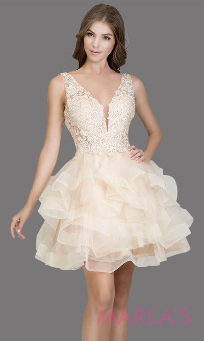 Short wide strap tulle champagne grade 8 grad dress with lace & V Neck. This puffy tiered light gold graduation dress is great as quinceanera damas, sweet 16 birthday, bat mitzvah, confirmation, junior bridesmaid, 8th grade. Plus sizes avail