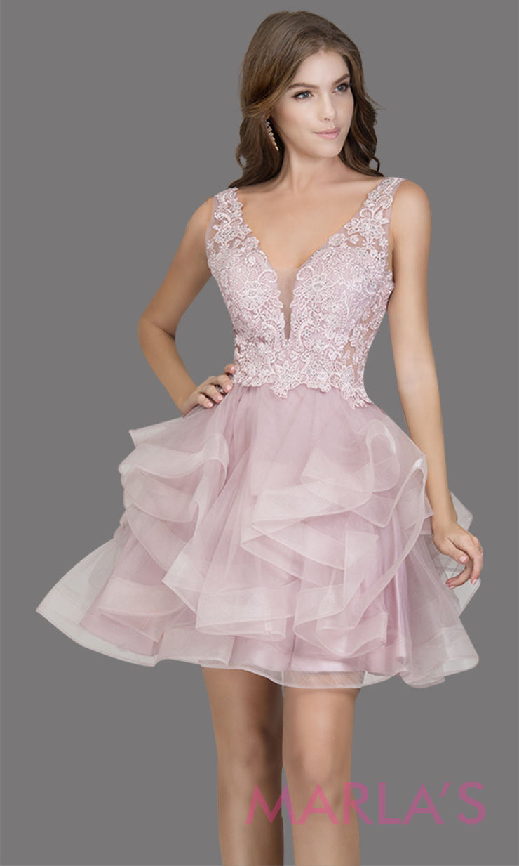 Short wide strap tulle mauve pink grade 8 grad dress with lace & V Neck. This puffy tiered pink purple graduation dress is great as quinceanera damas, sweet 16 birthday, bat mitzvah, confirmation, junior bridesmaid, 8th grade. Plus sizes avail