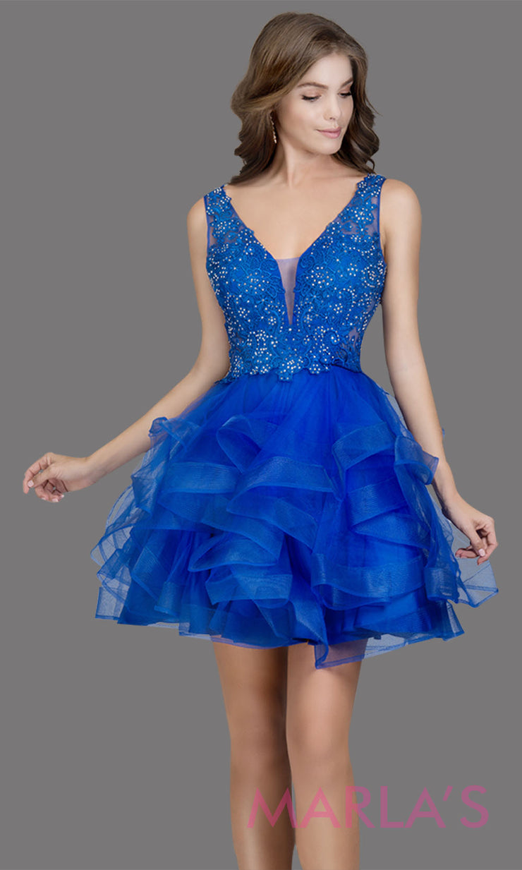 Short wide strap tulle royal blue grade 8 grad dress with lace & V Neck. This puffy tiered graduation dress is great as blue quinceanera damas, sweet 16 birthday, bat mitzvah, confirmation, junior bridesmaid, 8th grade grad. Plus sizes avail
