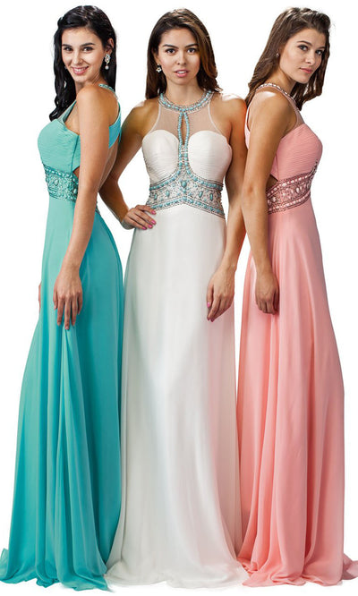 Dancing Queen - 9270 Bejeweled Illusion Neckline A-Line Gown In Pink and White