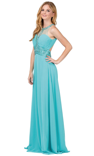 Dancing Queen - 9270 Bejeweled Illusion Neckline A-Line Gown In Blue