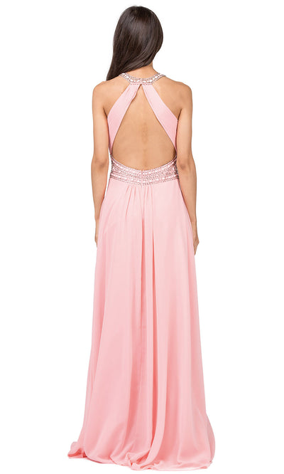 Dancing Queen - 9270 Bejeweled Illusion Neckline A-Line Gown In Pink