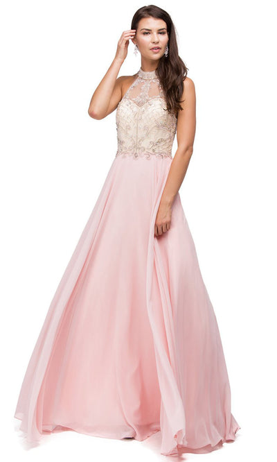 Dancing Queen - 9293 Embellished High Halter A-Line Gown In Pink