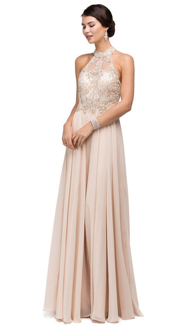 Dancing Queen - 9293 Embellished High Halter A-Line Gown In Neutral