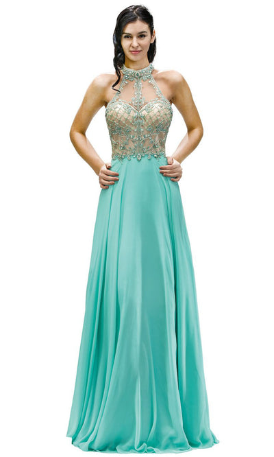 Dancing Queen - 9293 Embellished High Halter A-Line Gown In Green