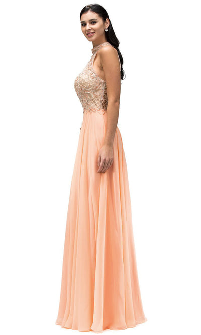 Dancing Queen - 9293 Embellished High Halter A-Line Gown In Orange