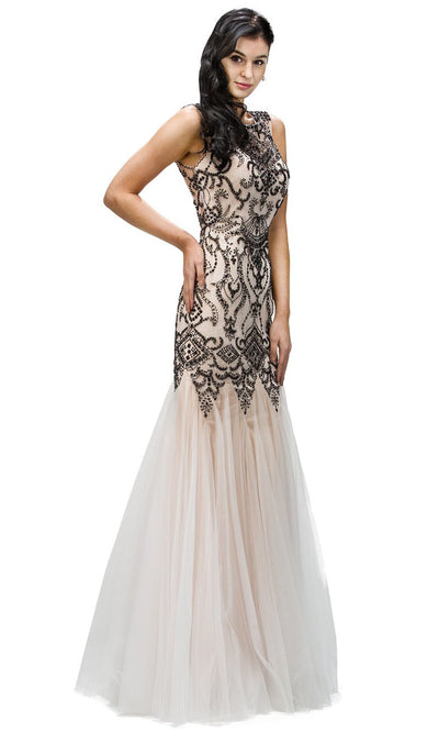 Dancing Queen - 9294 Sleeveless Beaded Applique Mermaid Gown In Black