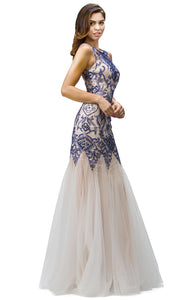 Dancing Queen - 9294 Sleeveless Beaded Applique Mermaid Gown In Blue