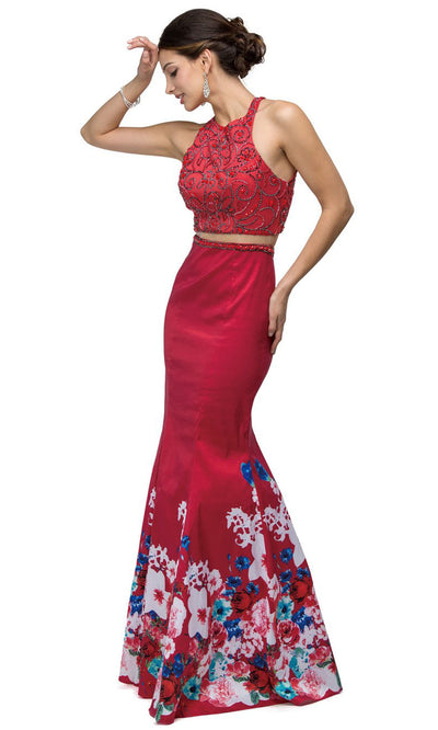 Dancing Queen - 9385TAF 2-Piece Beaded Mermaid Dress In Red