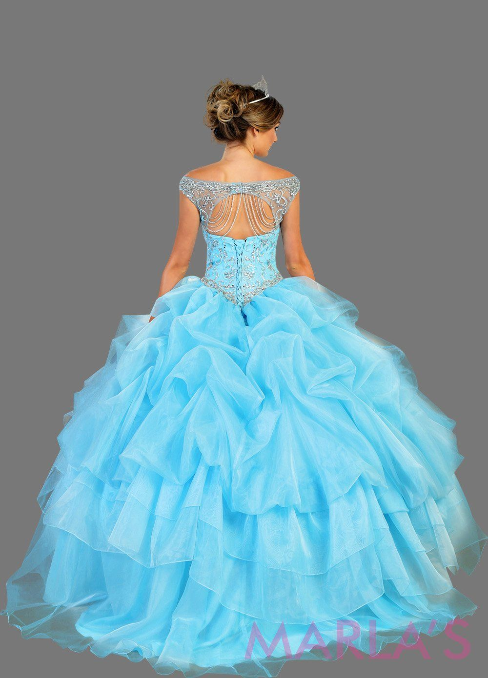 Back of Long aqua blue high neck princess quinceanera ball gown with rhinestone beading and ruffled skirt. Perfect for Engagement dress, Quinceanera, Sweet 16, Sweet 15 and light blue Wedding Reception Dress. Available in plus sizes