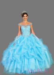 Long aqua blue high neck princess quinceanera ball gown with rhinestone beading and ruffled skirt. Perfect for Engagement dress, Quinceanera, Sweet 16, Sweet 15 and light blue Wedding Reception Dress. Available in plus sizes