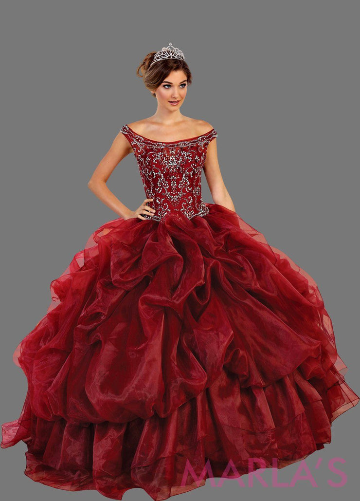 Long burgundy high neck princess quinceanera ball gown with rhinestone beading and ruffled skirt. Perfect for Engagement dress, Quinceanera, Sweet 16, Sweet 15 and dark red Wedding Reception Dress. Available in plus sizes