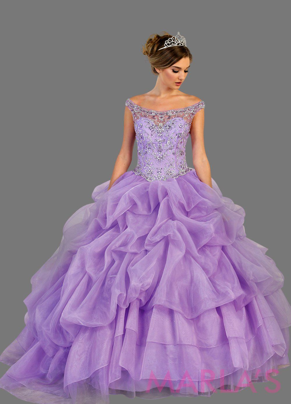 Long light purple high neck princess quinceanera ball gown with rhinestone beading and ruffled skirt. Perfect for Engagement dress, Quinceanera, Sweet 16, Sweet 15 and lilac Wedding Reception Dress. Available in plus sizes