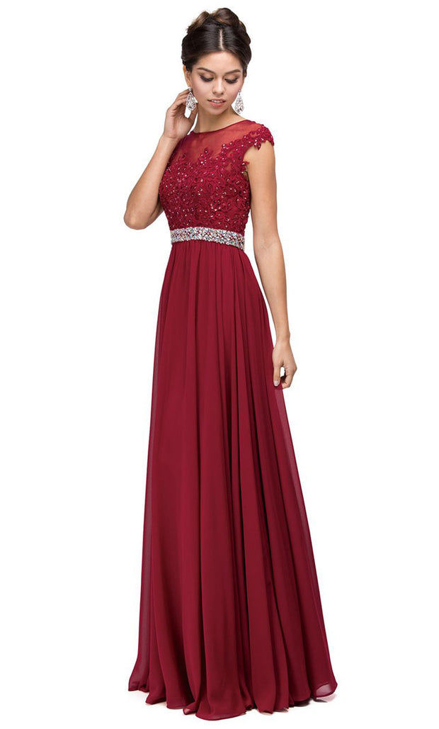 Dancing Queen - 9400 Beaded Lace Illusion Neckline A-Line Gown In Burgundy