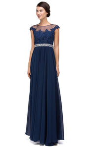 Dancing Queen - 9400 Beaded Lace Illusion Neckline A-Line Gown In Blue