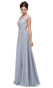 Dancing Queen - 9400 Beaded Lace Illusion Neckline A-Line Gown In Silver & Gray