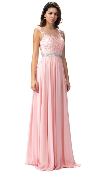 Dancing Queen - 9400 Beaded Lace Illusion Neckline A-Line Gown In Pink