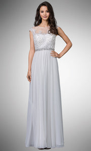 Dancing Queen - 9400 Beaded Lace Illusion Neckline A-Line Gown In White & Ivory
