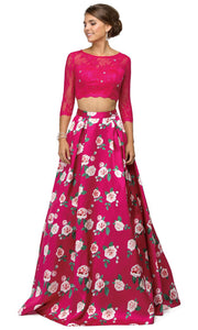 Dancing Queen - 9452 Quarter Sleeve Floral Two Piece Ballgown In Pink