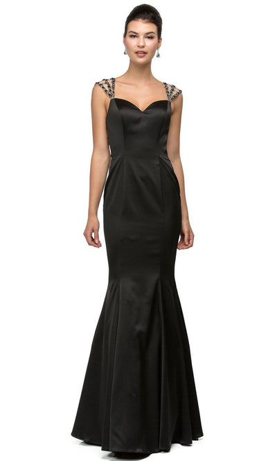Dancing Queen - 9454 Sweetheart Taffeta Trumpet Gown In Black