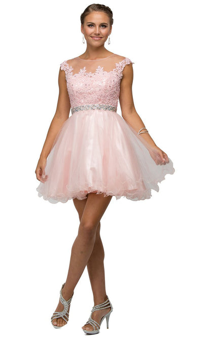 Dancing Queen - 9489 Embroidered Illusion Neck A-Line Dress In Pink