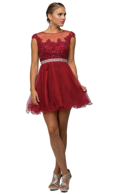 Dancing Queen - 9489 Embroidered Illusion Neck A-Line Dress In Red