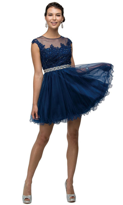 Dancing Queen - 9489 Embroidered Illusion Neck A-Line Dress In Blue