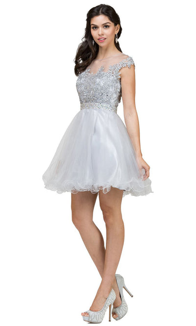 Dancing Queen - 9489 Embroidered Illusion Neck A-Line Dress In Silver