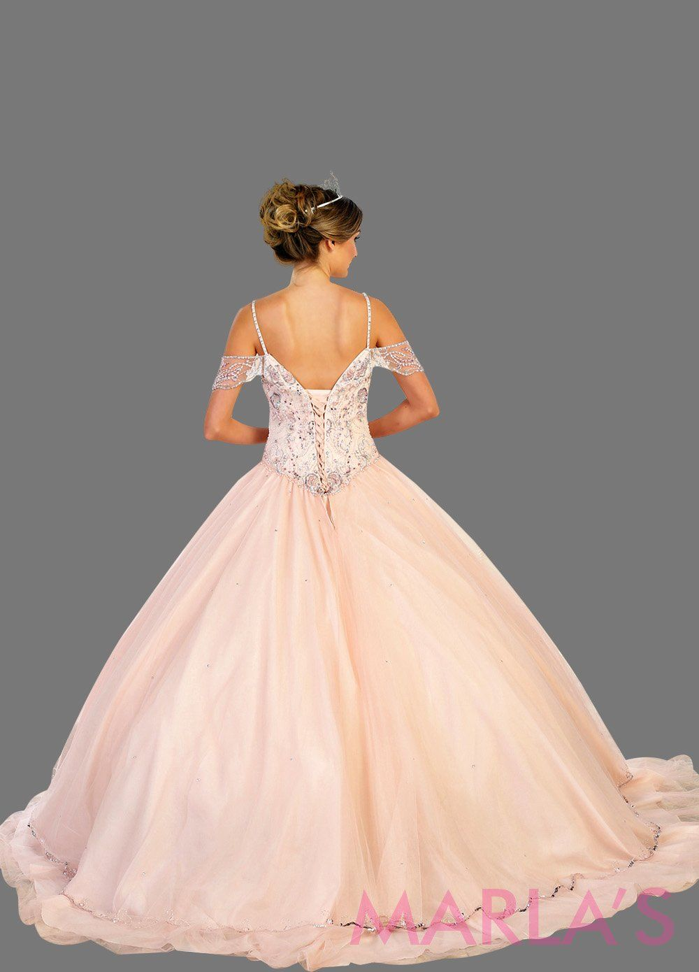 Back of Long off shoulder light pink princess ball gown with rhinestone beading. Perfect for Engagement dress, Quinceanera, Sweet 16, Sweet 15, Debut, and blush pink, Wedding Reception Dress. Available in plus sizes