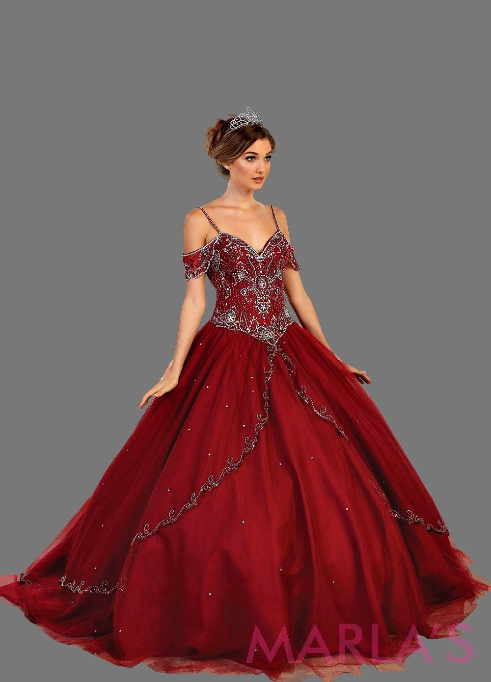Long off shoulder burgundy princess ball gown with rhinestone beading. Perfect for Engagement dress, Quinceanera, Sweet 16, Sweet 15, Debut, and dark red, Wedding Reception Dress. Available in plus sizes