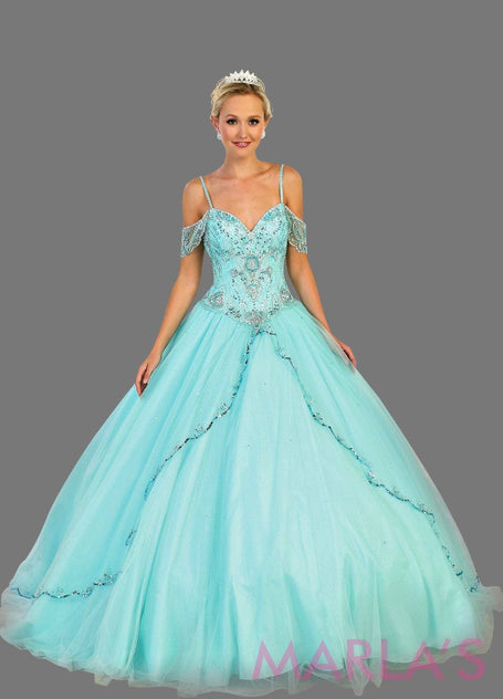 Long off shoulder light blue princess ball gown with rhinestone beading. Perfect for Engagement dress, Quinceanera, Sweet 16, Sweet 15, Debut, and aqua blue Wedding Reception Dress. Available in plus sizes