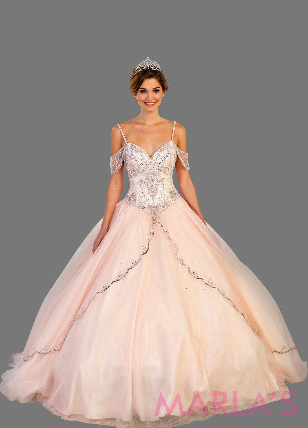 Long off shoulder light pink princess ball gown with rhinestone beading. Perfect for Engagement dress, Quinceanera, Sweet 16, Sweet 15, Debut, and blush pink, Wedding Reception Dress. Available in plus sizes