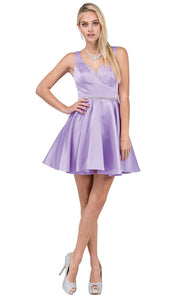 Dancing Queen - 9504 Crystal Beaded Waist A-Line Cocktail Dress In Purple